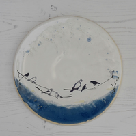 Birds on a wire white and azure blue round rimless plate - handmade pottery