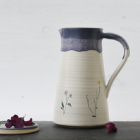 Handmade ceramic flower pitcher, blue and white pitcher, illustrated pottery