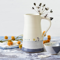 Blue and white flower pitcher - handmade illustrated ceramics