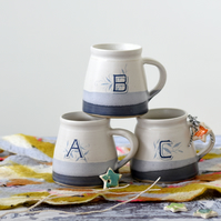 Blue and white monogram letter mug - illustrated pottery - free UK delivery