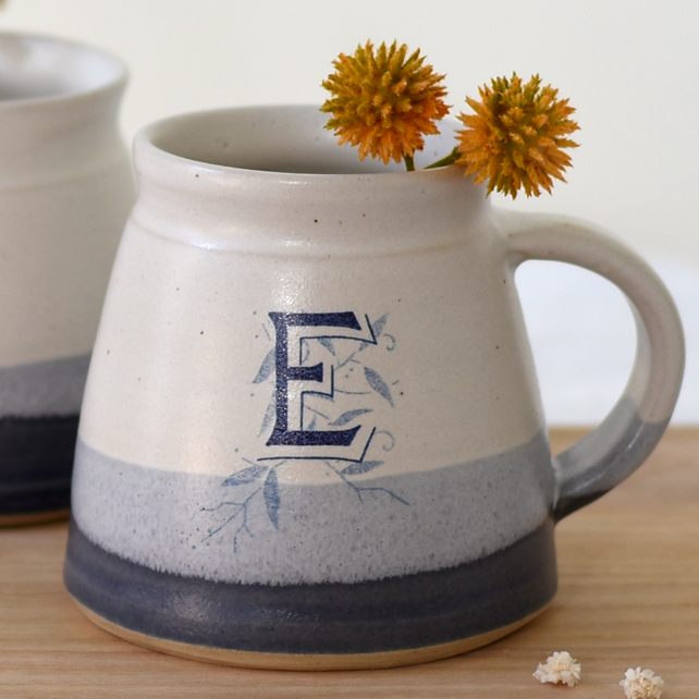 Blue and white ceramic alphabet monogram mug, handmade personalised pottery