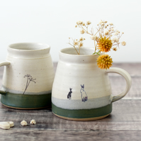 Ceramic hare rabbit mug - handmade green and creamy white pottery