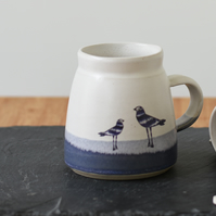 Ceramic mug with stripy birds - blue and white handmade pottery