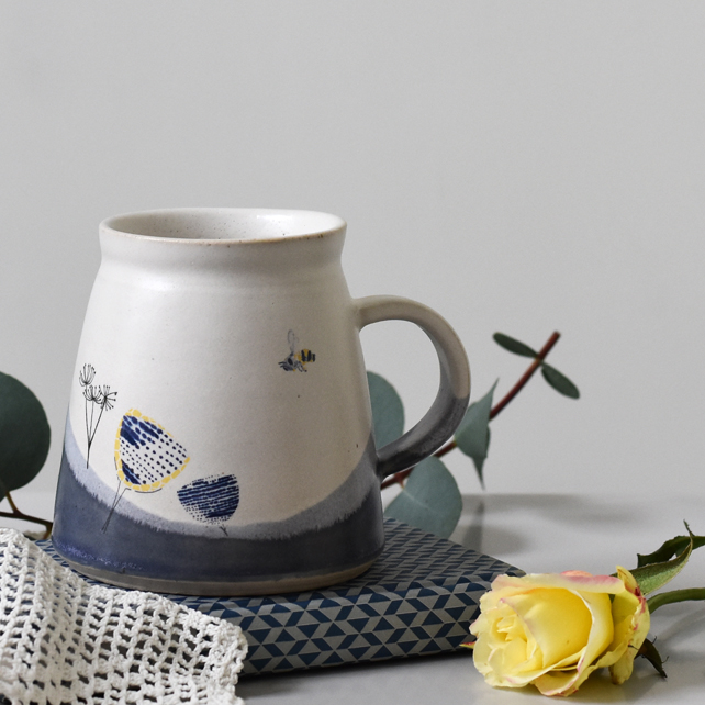 Ceramic mug with bee and cow parsley - blue and white handmade pottery