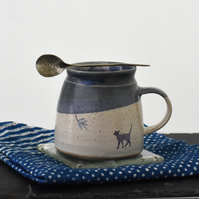 Handmade ceramic cat mug - one of a kind blue and white pottery