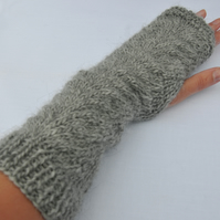Fingerless Gloves - Alpaca and wool aran weight