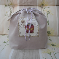 Project bag, knittng bag, linen storage bag