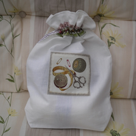 Knitting bag, project bag, linen storage bag