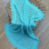 Light weight pram blanket, knitted baby blanket - FREE UK SHIPPING