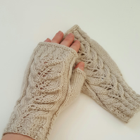 Cable knitted fingerless mittens, gloves
