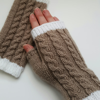 Hand knitted fingerless gloves wristwarmers - FREE UK SHIPPING