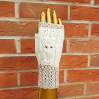 Hand knitted owl gloves, free UK shipping