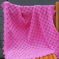 Knitted baby blanket, lace and lightweight