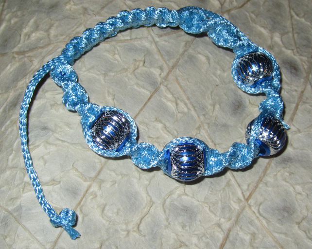 Light Blue Macrame Bracelet with 4 Aluminium Beads