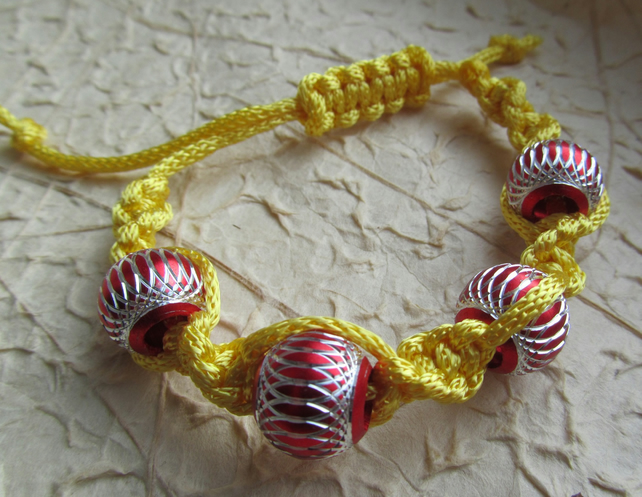 Yellow Twist Macrame Bracelet with Red Aluminium Beads