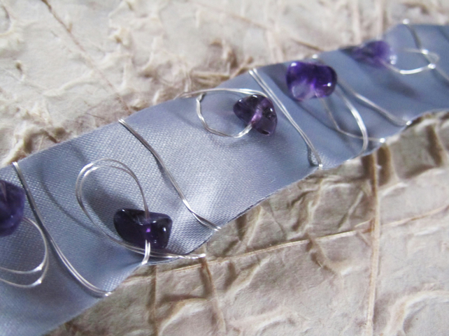 Grey Ribbon Choker with Amethyst and Wire