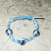 Light Blue White Macrame Bracelet with 3 Aluminium Beads