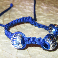 Dark Blue Macrame Bracelet with 3 Aluminium Beads