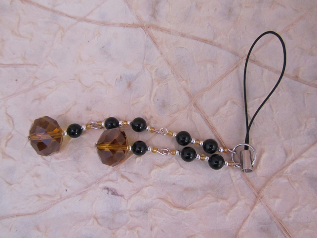 Orange crystal and black beaded mobile phone charm