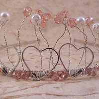 Pink and White Heart Tiara