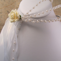 Victorian Style Cream Rose, Faux Pearl and White Organza Ribbon Tiara