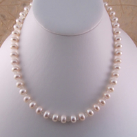 White Pearl Rainbow Moonstone Necklace