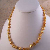 Gold Pearl Citrine Necklace with Gold Plated Silver