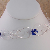 Silver Plated Wire Tiara or Headband with blue flowers