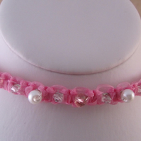 Pink Ribbon Macrame Headband or Tiara