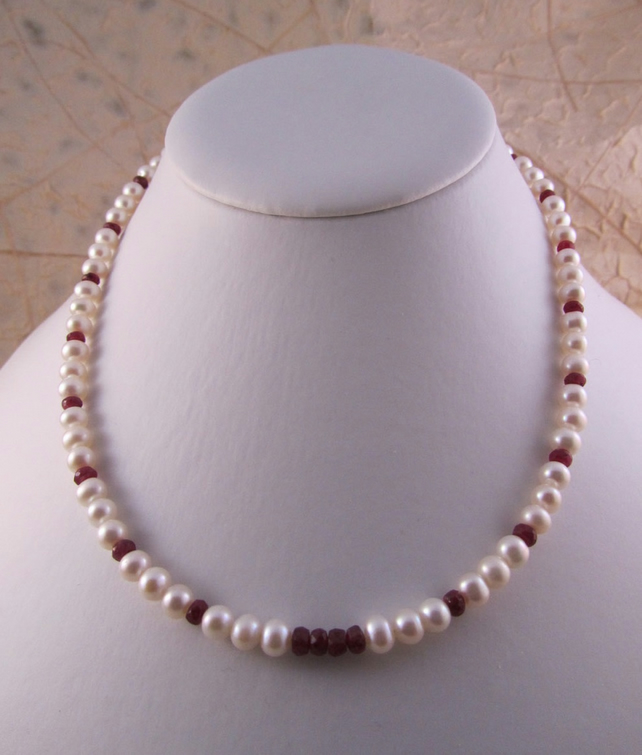 Ruby Pearl Necklace, White Pearl Necklace, Ruby Necklace