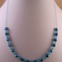 Sky Blue Apatite Pearl Necklace