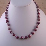 Dark Pink Pearl Rainbow Moonstone Necklace