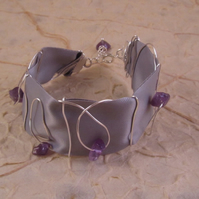 Amethyst Grey Ribbon Cuff Bracelet with Wire