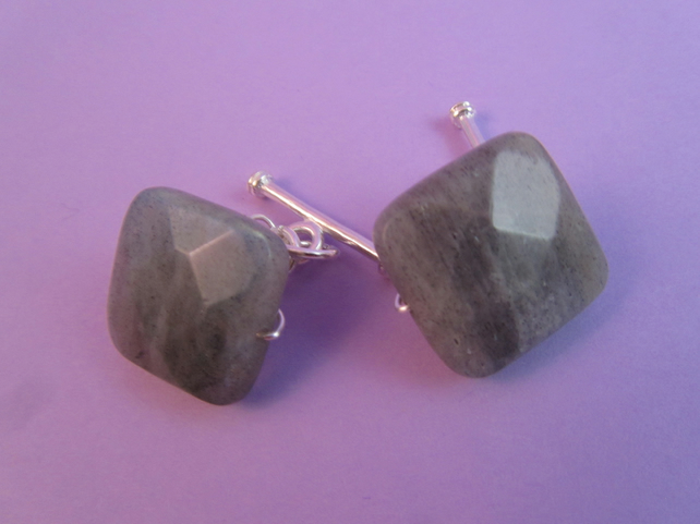 Grey Labradorite Cuff Links, Grey Cuff Links, Gemstone Cuff Links