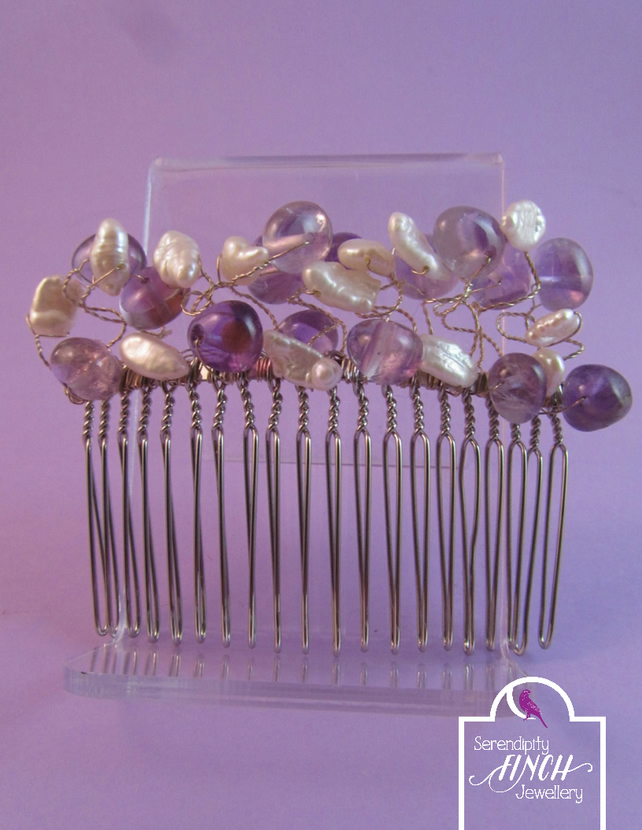 Purple Amethyst and White Pearl Hair Comb