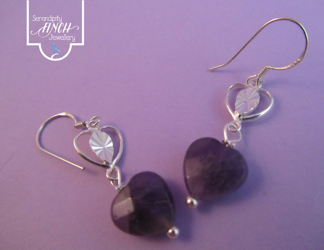 Purple Amethyst Heart Earrings with Silver, Heart Earrings