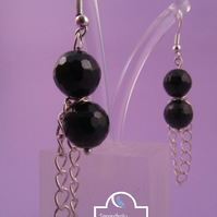 Black Agate Chain Dangle Earrings