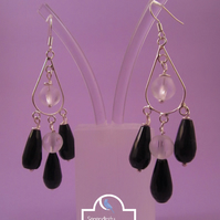 Black Agate Frosted Quartz Chandelier Earrings