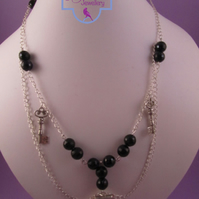 Silver Plated Locket, Key Black Agate Necklace