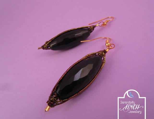 Black Agate Sari Earrings, Black Agate Earrings, Black Earrings