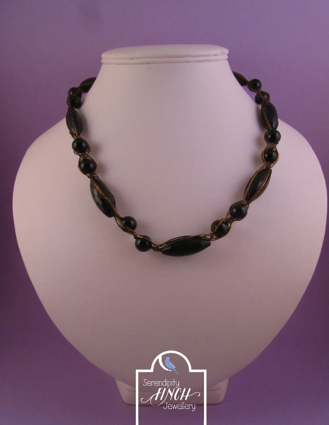 Black Agate Sari Necklace, Black Agate Necklace, Black Necklace
