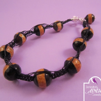 Black Orange Agate Macrame Bracelet