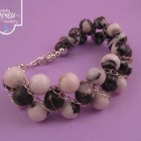 Black White Jasper Beaded Chain Bracelet
