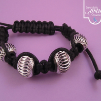 Black Leather Look Macrame Bracelet with Aluminium Beads