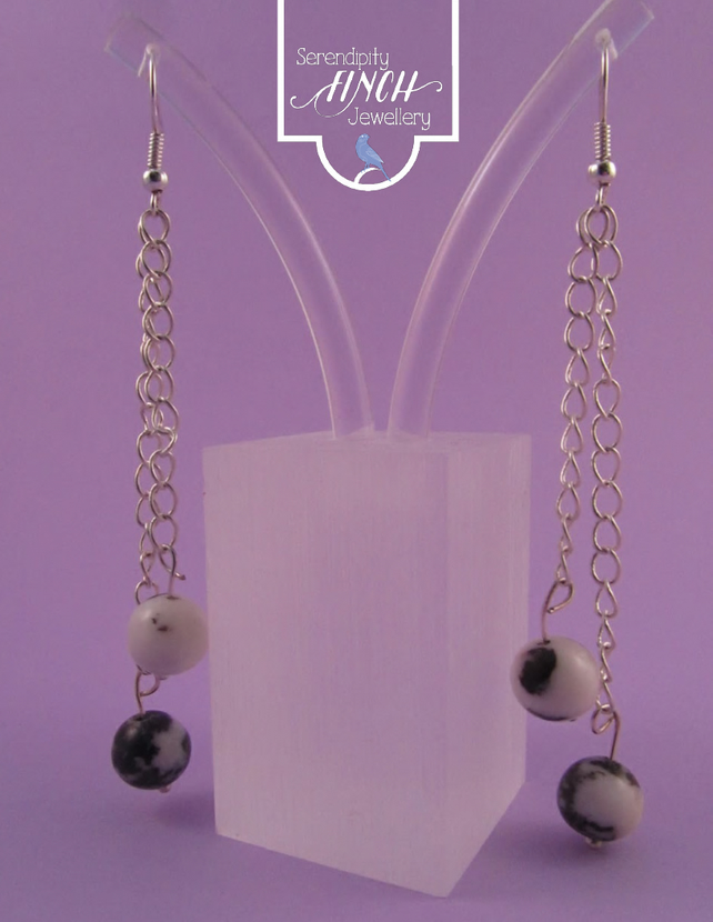 Black White Jasper Chain Dangle Earrings