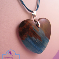 Brown Blue Agate Heart Pendant Necklace, Blue Heart Necklace, Blue Heart Pendant