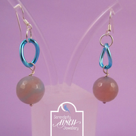 Ocean Blue Agate Dangle Earrings