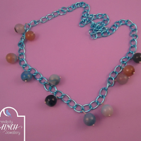 Blue Chain Ocean Blue Agate Long Necklace