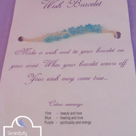 Flower Wish Bracelet, Blue White Wish Bracelet, Jute Bracelet