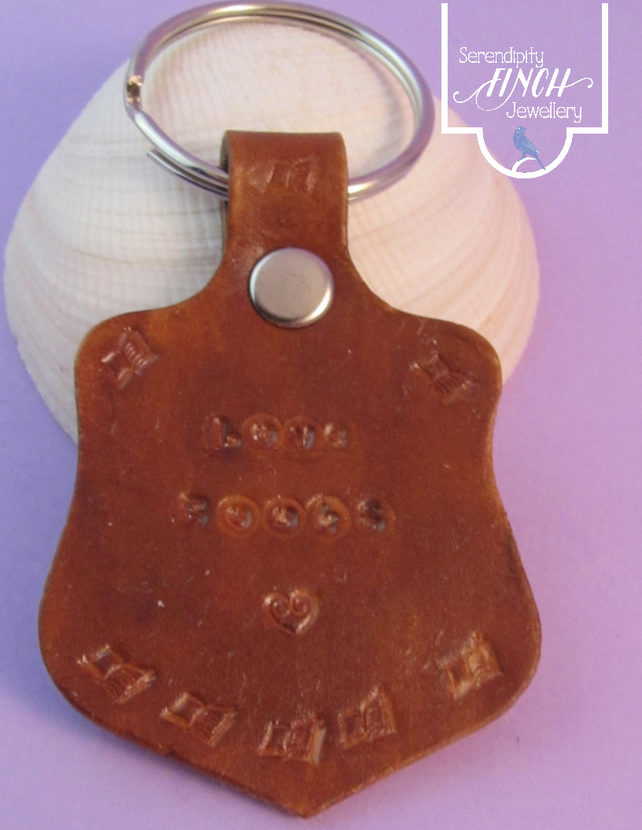 Love Books Brown Leather Keyring, Hand Stamped Leather Keyring